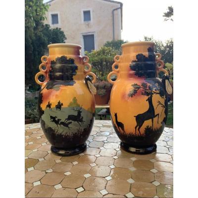 Paire De Grands Vases Céramique Saint Jean Du Désert Marseille