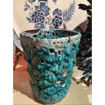 Glacier Enamel Vase Charles Cart Earthenware For Cyclops 1960´