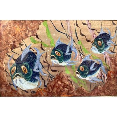 Peinture Sur Cuivre 1947 . Pierre Raffy