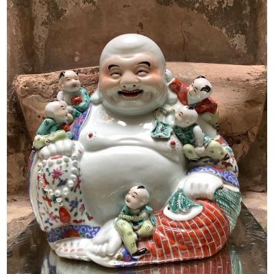Bouddha Rieur  « Putaï»  Zhu Mao Ji Zao Porcelaine Chine  début XXéme