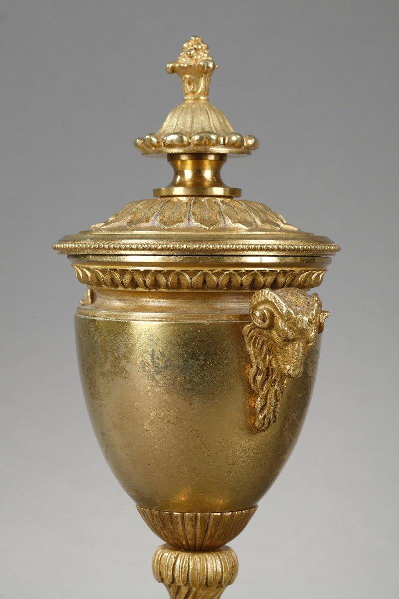 Elégants Bougeoirs-cassolettes Réversibles En Bronze Doré-photo-1