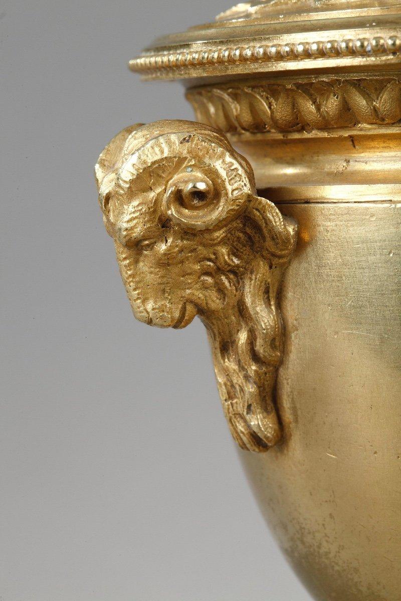 Elégants Bougeoirs-cassolettes Réversibles En Bronze Doré-photo-4