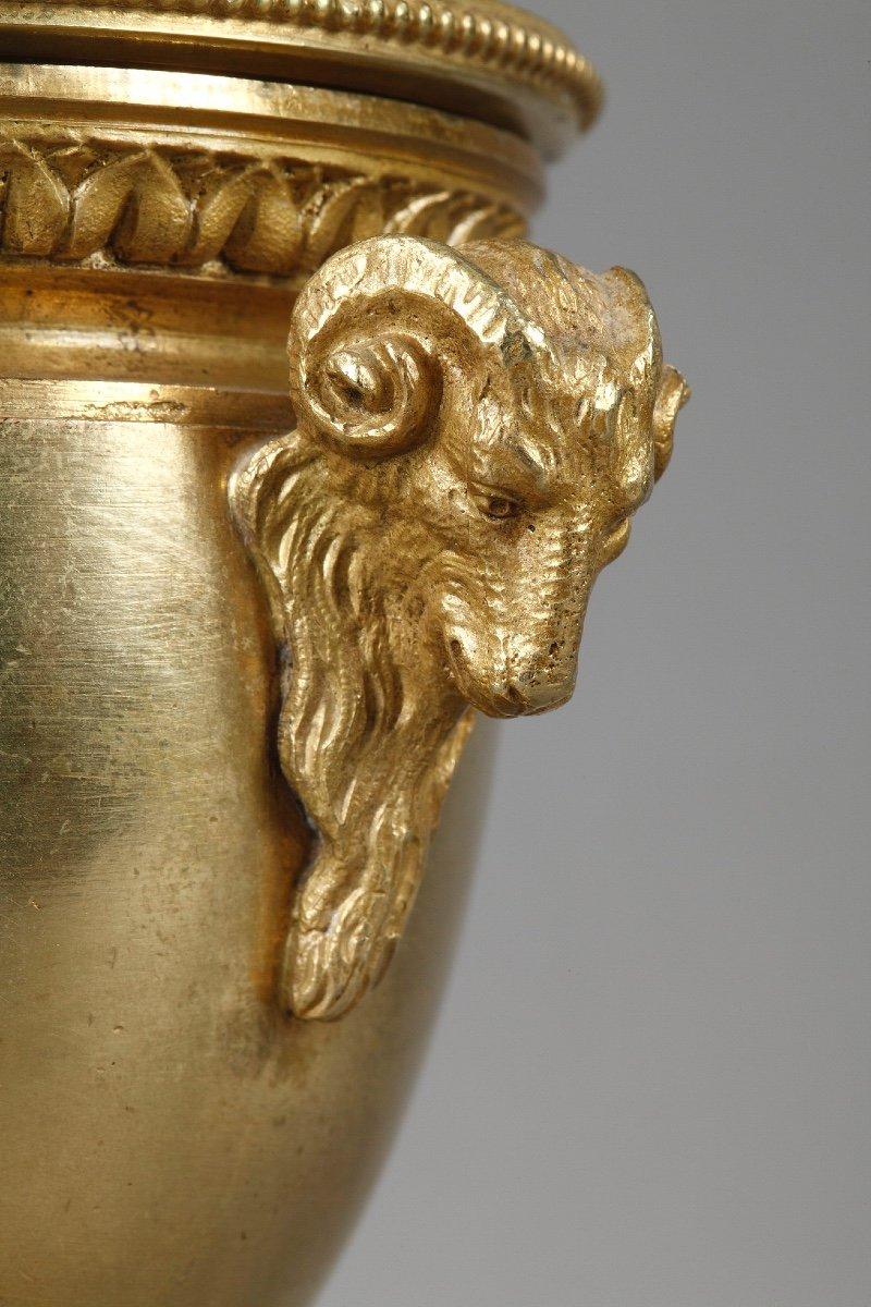 Elégants Bougeoirs-cassolettes Réversibles En Bronze Doré-photo-6