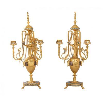 Pair Of Candelabra In Bronze And Cloisonne Enamel - F. Barbedienne