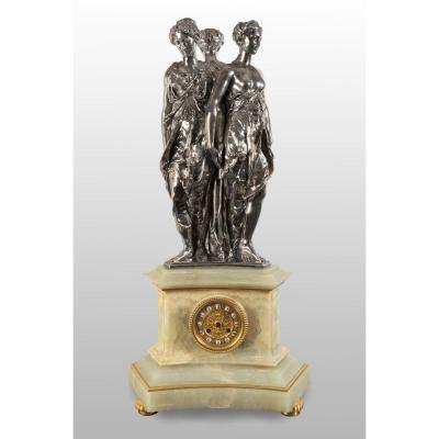 """""""three Graces"""" An Important Pendulum In Silvered Bronze And Onyx."""