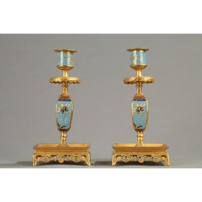 Pair Of Small Candlesticks In Gilt Bronze And Cloisonné Enamels Blue Background