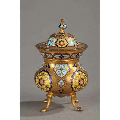 Covered Pot In Gilt Bronze And Cloisonné Enamels, Tripod Feet