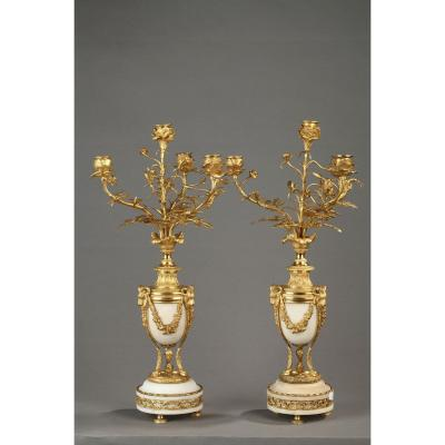 Pair Of Candelabra With Four Lights White Marble And Gilt Bronze
