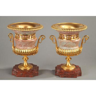 Pair Of Medici Vases Pink Marble, Gilt Bronze
