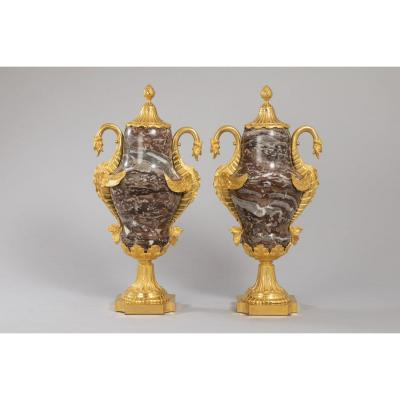 Pair Of Large Vases Covered In Marble And Gilt Bronze