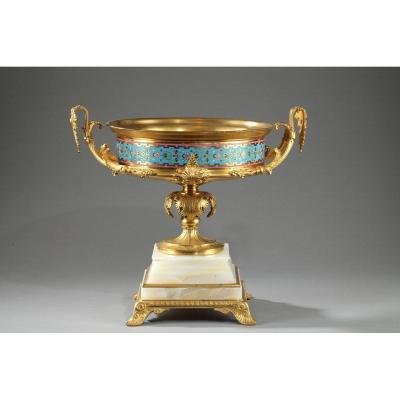 Large Gilt Bronze Cup, Algerian Onyx And Cloisonné Enamels