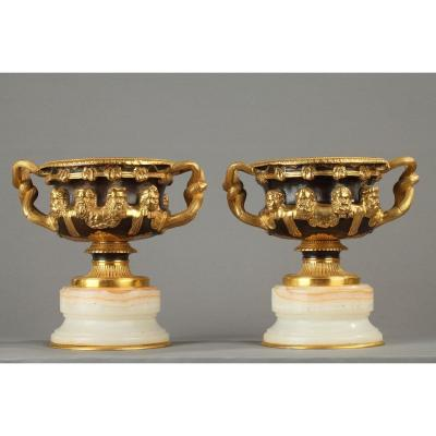 Pair Of Warwick Bearded Vases In Bronze And Onyx