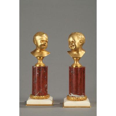 Pair Of Golden Bronzes, Jean Qui Rit, Jean Qui Pleure.