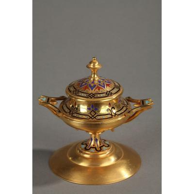 Inkwell In Gilt Bronze And Cloisonné Enamels Signed A.giroux