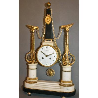 Louis XVI Clock Signed Degree. Ormolu Bronze And Marble.