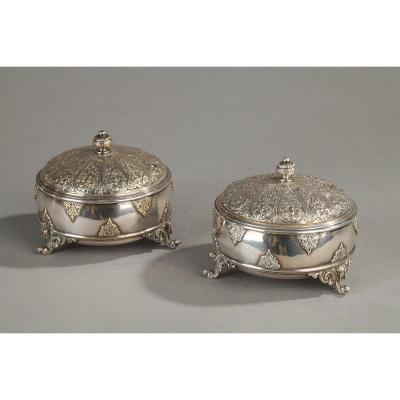 Pair Of Boxes In Silver Bronze, F. Barbedienne