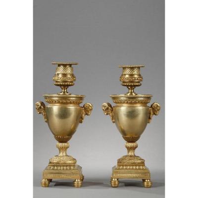 Elegant Reversible Gilt Bronze Candle Holders
