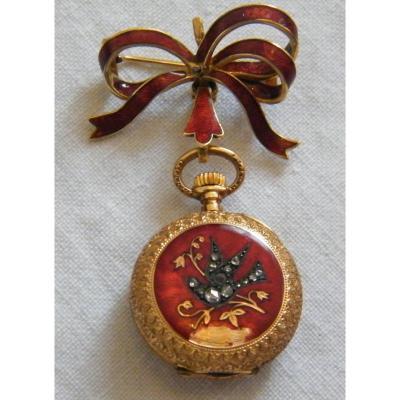 Montre Gousset Broche Or 18k émail Rouge Décors Oiseau Diamants,numérotés,fab Suisse