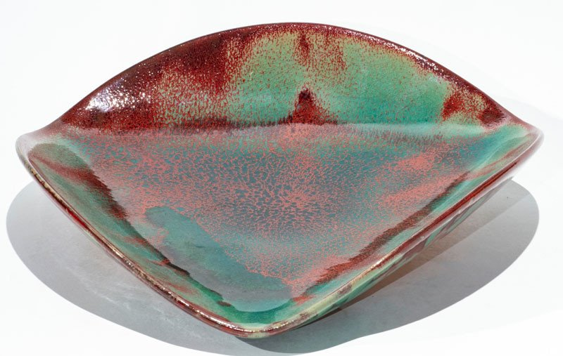 Contemporary Triangular Dish Or Tray In Green And Oxblood Red Flambee Ceramic
