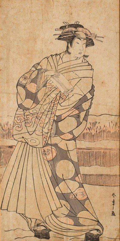 Katsukawa Shunsho Japan Edo Era - Ukiyo-e Hosoban Tate-e : Kabuki Actor As A Geisha In The Snow