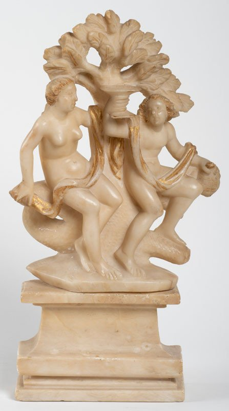Italy 18th Century - The Young Bacchus And Ariadne In Carved Alabaster With Gold Highlights