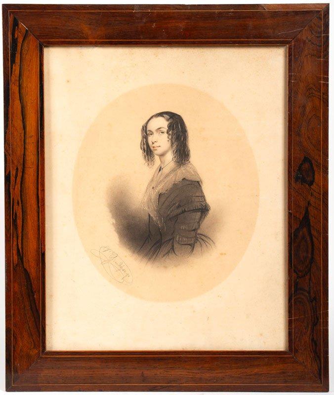 Grandchamp – Dessin : Portrait De Femme 19ème Siècle