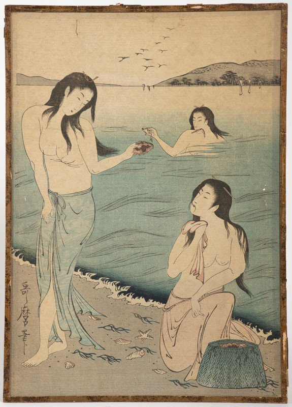 Japan, 19th Century - Three Fisherwomen Ladies On A Beach By The Sea