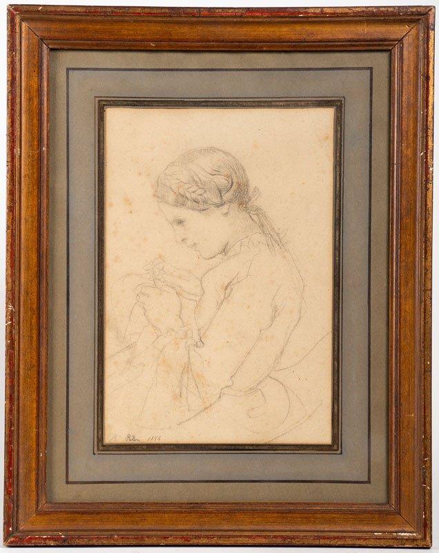 Felon 1844 – Dessin : Portrait De Femme Faisant De La Couture