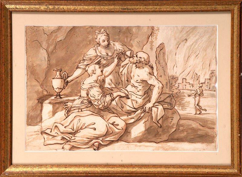Le Guerchin (d'après) -  Loth Et Ses Filles - Ecole Italienne Du 17ème Siècle Encre Et Lavis
