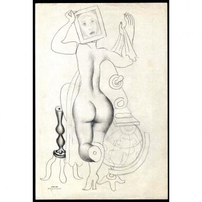 Surrealist Composition: Naked Woman From Back, Emiliano Di Cavalcanti, C. 1930