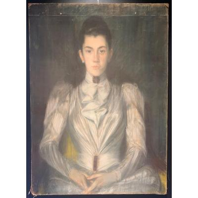 Portrait Of An Elegant In White, Pastel, Late 19th - Early 20th Century