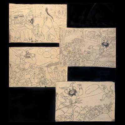 L'histoire du Ramayana, 12 encres sur papiers avec textes au revers – Inde, Pendjab, 19ème