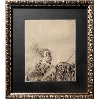 Frédéric Heydt - Rearing Horse, Its Mane Floating In The Wind - Signed Drawing, C. 1960