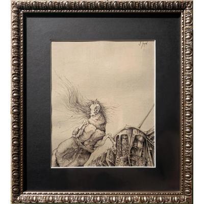 Frédéric Heydt - Cheval en train de cabrer, la crinière au vent - dessin signé, c. 1960