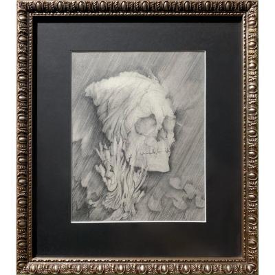Frédéric Heydt - Vanité : Crâne Dans Les Flammes, Dessin Au Crayon C. 1960 - Memento Mori
