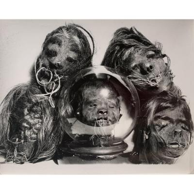 Photograph Of Tsantzas Shrunken Heads From South America, C. 1960 - Vintage Silver Print