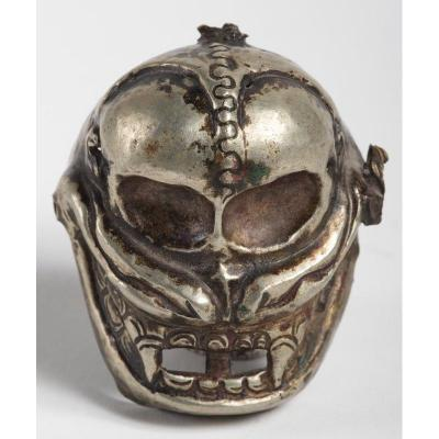 Citipati Skull 19th Century Tibet  - Miniature Luck Mask Of A Tibetan God Of Tantric Buddhism