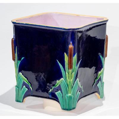 Angleterre 19e Siècle - Cache-pot Minton à Décor De Roseaux Sur Fond Bleu Nuit