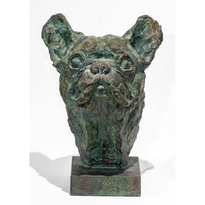 French Bulldog : Sculpture Of A Dog Bust Signed And Dated 1996 - Animal Art