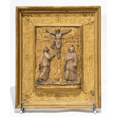 Malines 16e / 17e Siècle - Bas-relief : Albâtre Et Or - Crucifixion Christ En Croix à Jérusalem