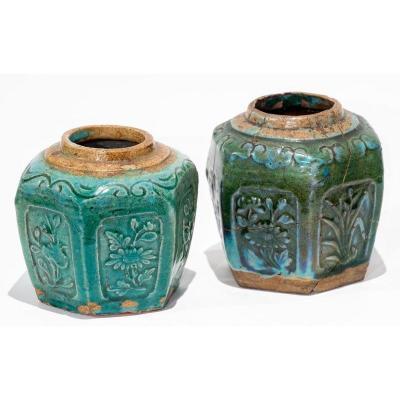 Asie Du Sud-est 19ème Siècle - Paire De Vases Verts à Motifs Floraux