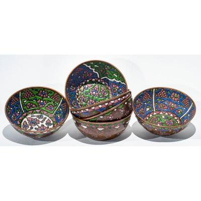 Middle East Or Russia C. 1900 - Six Bowls In Enamel On Copper