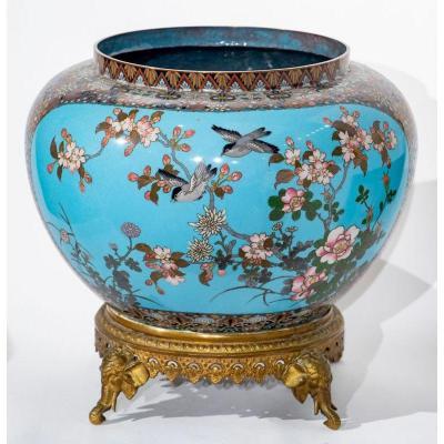 Japon ère Meiji - Cache Pot à Décor d'Oiseaux Et Fleurs Dont Cerisier Sakura En émaux Cloisonné