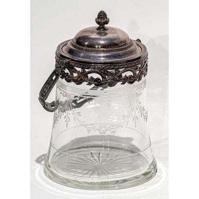 Covered Pot Or Candy Box In Engraved Crystal And Hallmarked Silver 19th Century
