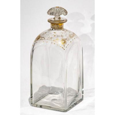 Crystal Decanter With Gold Decoration - 19th Century