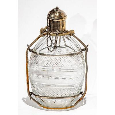 Gourd Flask In Engraved Crystal And Silver - 19th Century Bottle