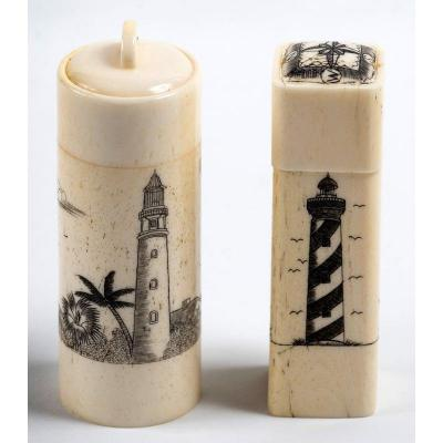 Two Engraved Ivory Cases With Marine Motifs - Lighthouse Beach And Sailboat