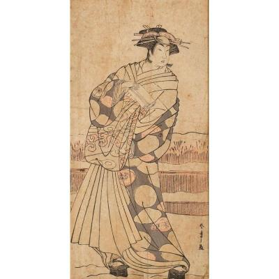 Katsukawa Shunsho Japon ère Edo - Ukiyo-e Hosoban Tate-e : Neige Et Acteur De Kabuki En Geisha