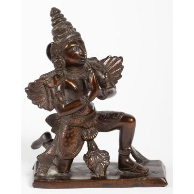 India 19 20th Century - Statue Of Kneeling Garuda With Joined Hands
