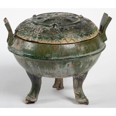 Chine Style Han - Pot Couvert Ding Vert Tripode à Décor De Poissons